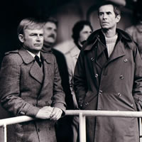 David Wood and Anthony Perkins in NORTH SEA HIJACK (Cinema Seven Productions)
